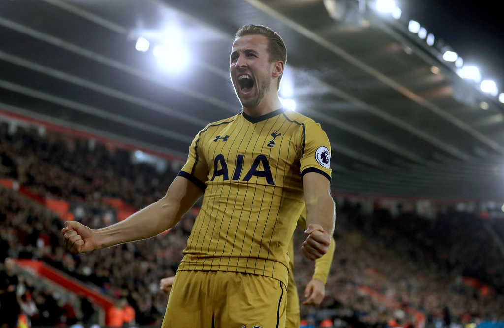 Tottenham Hotspur's Harry Kane celebrates scoring his side's second goal of the game during their English Premier League soccer match a...