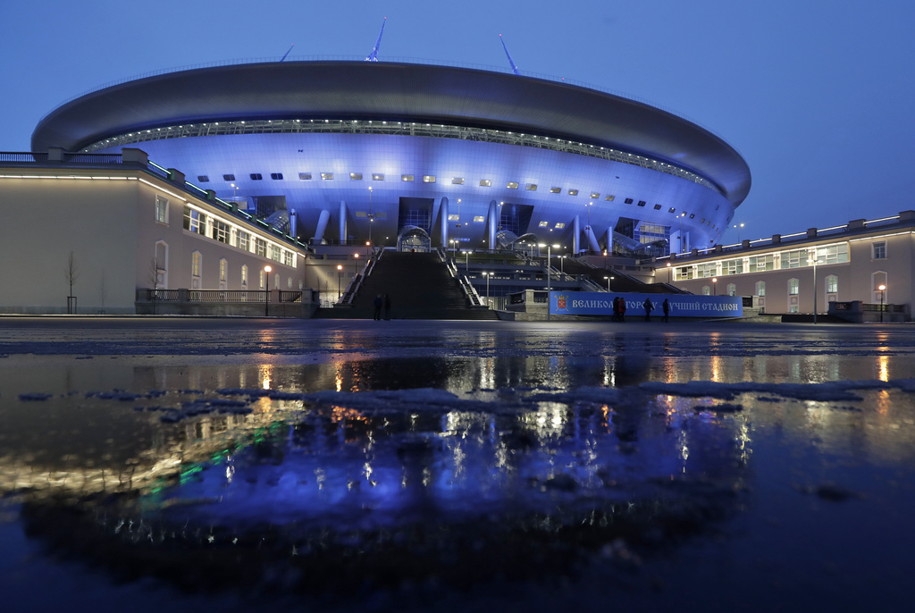 View of the soccer stadium, which is under construction on Krestovsky Island which will host some of 2018 World Cup soccer matches, in ...