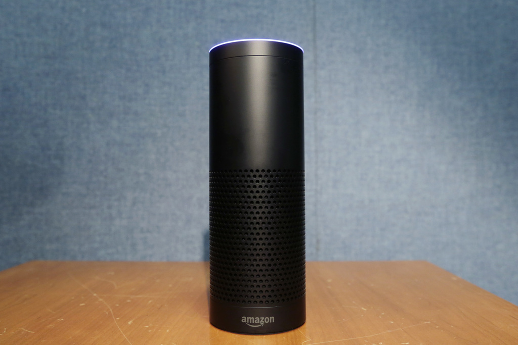 FILE - This July 29, 2015, file photo shows Amazon's Echo speaker, which responds to voice commands, in New York. A prosecutor investig...