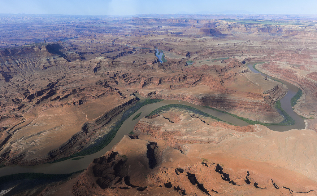FILE - This May 23, 2016, file photo, shows the northernmost boundary of the proposed Bears Ears region, along the Colorado River, in s...