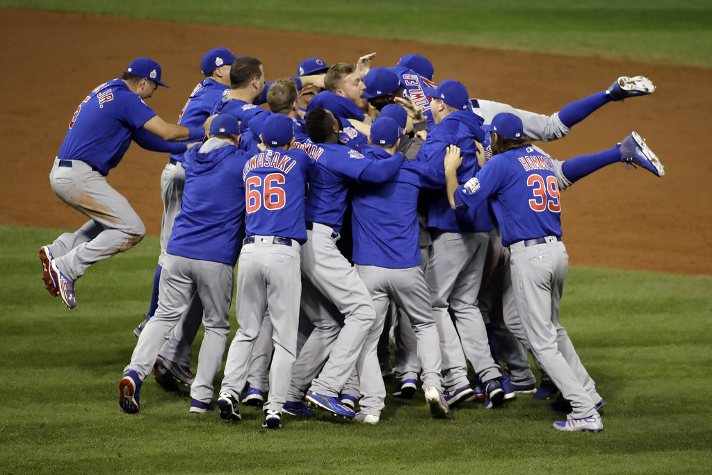 FILE - In this Nov. 3, 2016, file photo, the Chicago Cubs celebrate after Game 7 of the Major League Baseball World Series against the ...