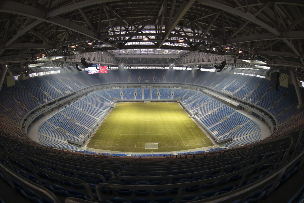 View of a soccer stadium, which is under construction on Krestovsky Island and which will host some of 2018 World Cup soccer matches, i...
