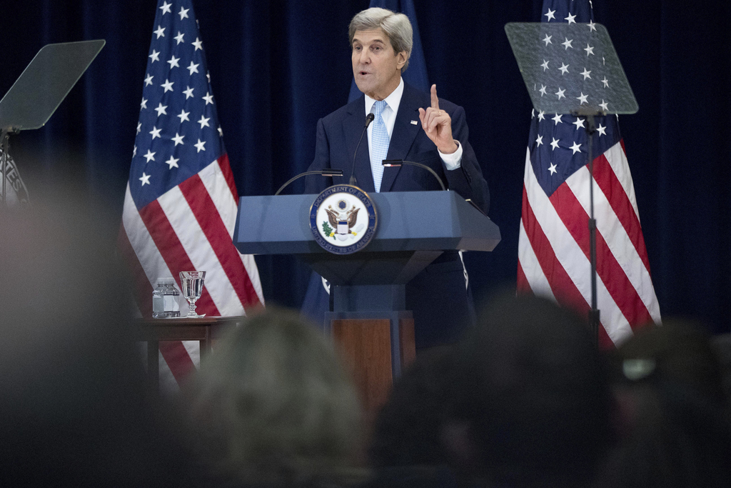 Secretary of State John Kerry speaks at the State Department in Washington, Wednesday, Dec. 28, 2016. Stepping into a raging diplomatic...