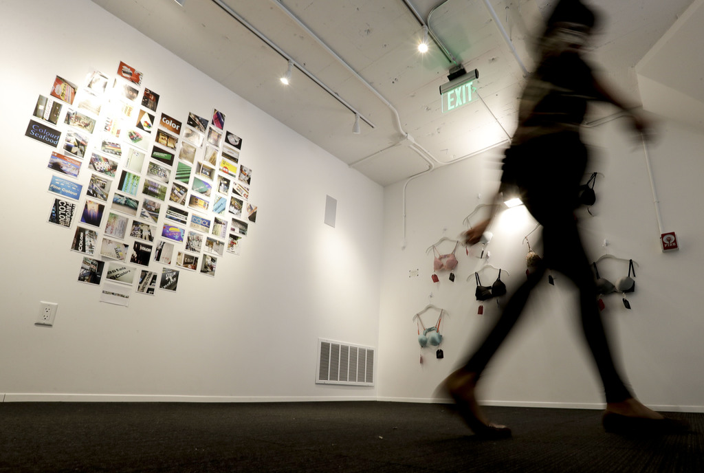 A visitor tours the new Museum of Broken Relationships Wednesday, Dec. 28, 2016, in Los Angeles. The museum displays artifacts from fai...