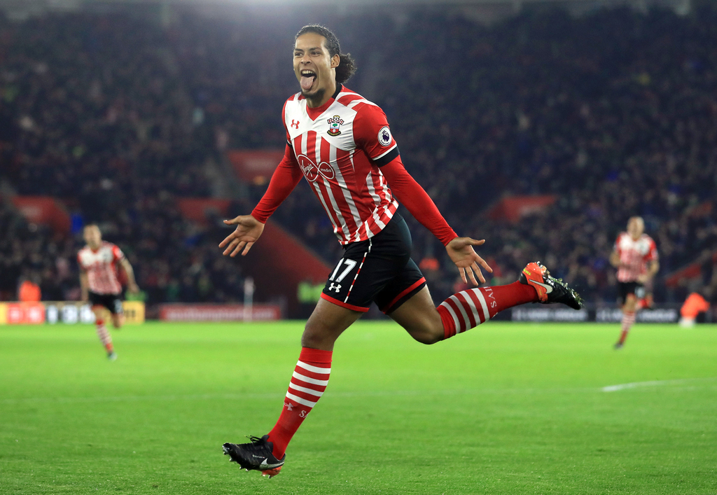 Southampton's Virgil van Dijk celebrates scoring his side's first goal of the game during their English Premier League soccer match aga...