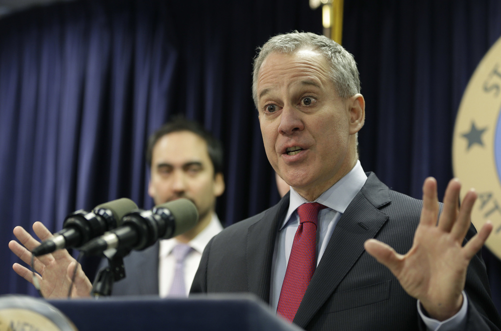 FILE- In this March 21, 2016 file photo, New York Attorney General Eric Schneiderman. Two weeks after officials in two dozen states ask...