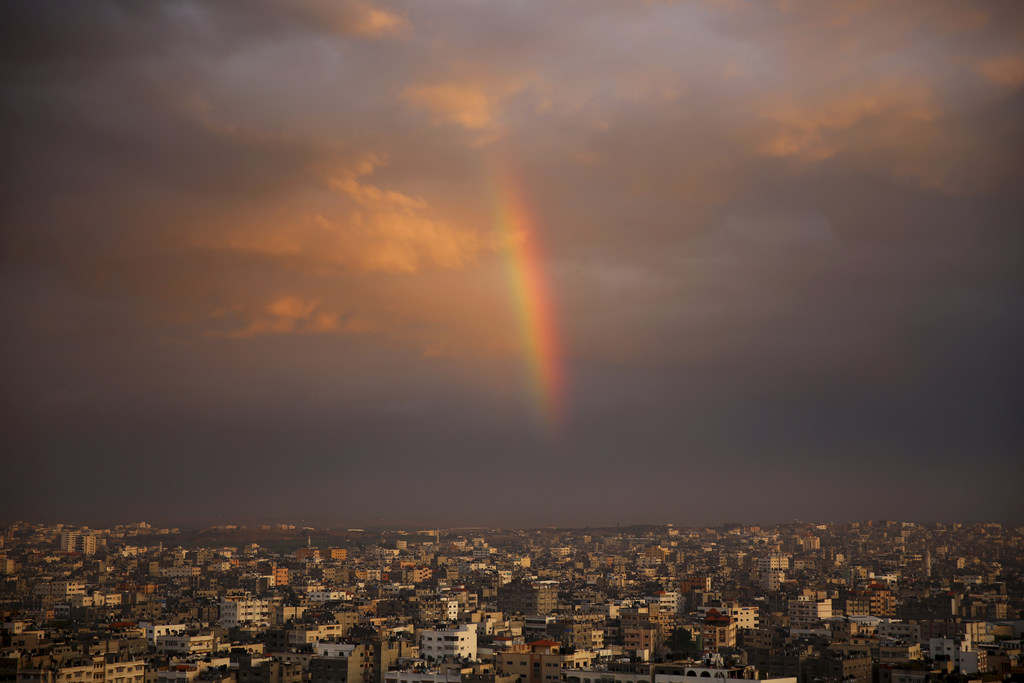 FILE - A rainbow shines in the sky above the city following a rainstorm, in Beit Lahiya City, Gaza Strip, Thursday, Dec. 8, 2016. (AP P...