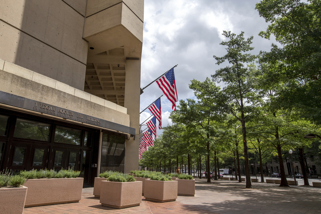 In this photo taken Aug. 19, 2015, the J. Edgar Hoover Building, The Federal Bureau of Investigation headquarters in Washington. The U....