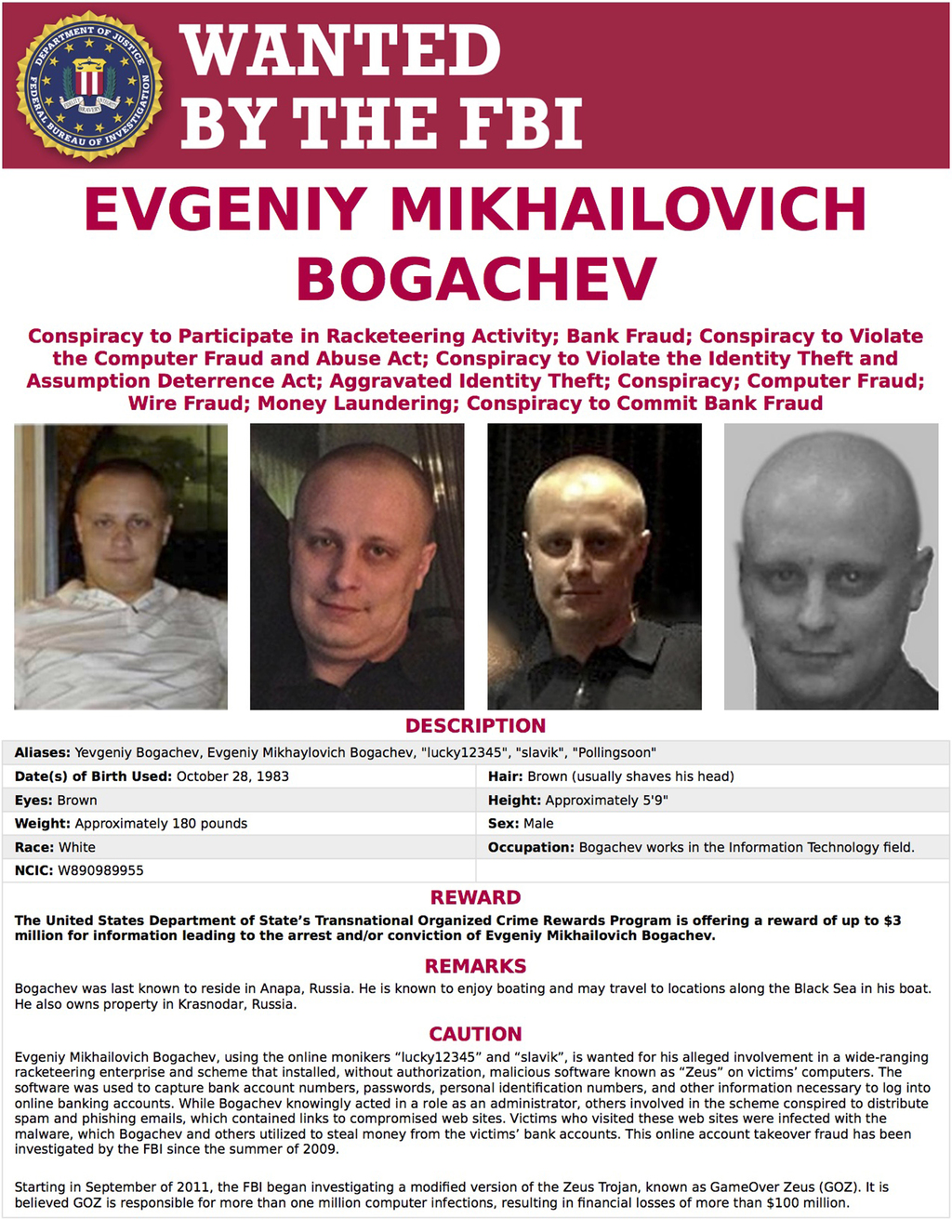 This image provided by the FBI shows the wanted poster for Evgeniy Bogachev. In a sweeping response to election hacking, President Bara...