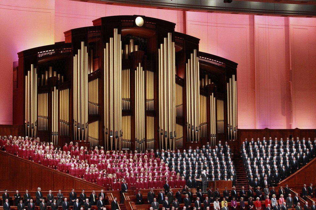 FILE - In this Oct. 1, 2016, file photo, the Mormon Tabernacle Choir of The Church of Jesus Christ of Latter-day Saints, sings in the C...