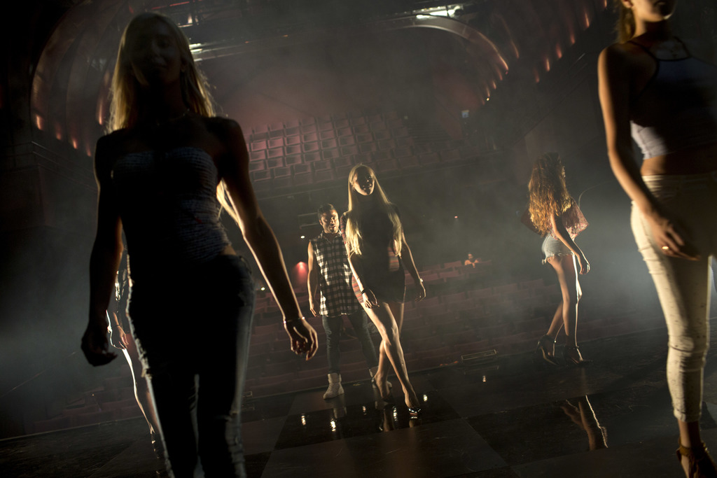 FILE - Contestants in the first Miss Trans Israel beauty pageant practice the walk on the stage during rehearsal in Tel Aviv, Israel, T...