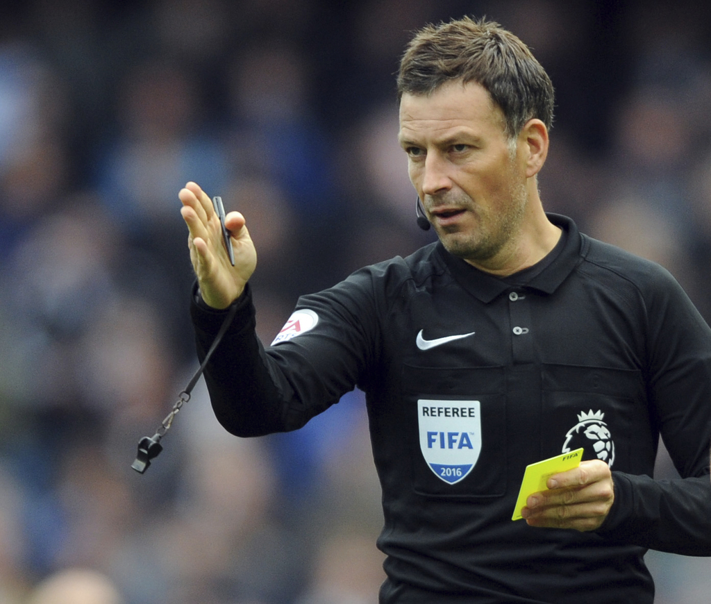 FILE - This is a Sunday, Oct. 23, 2016   file photo of  English referee Mark Clattenburg during the English Premier League soccer match...