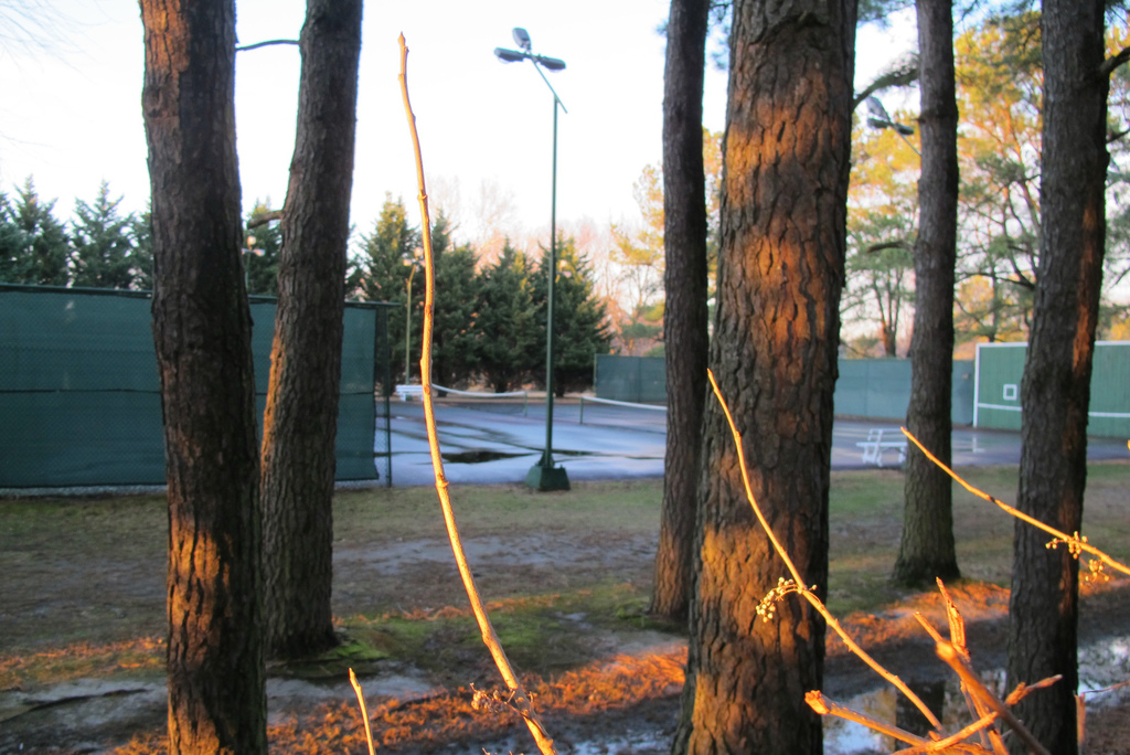 This Thursday, Dec. 29, 2016 photo shows a tennis court at a riverfront compound near Centreville, Md., that has been used by Russian F...
