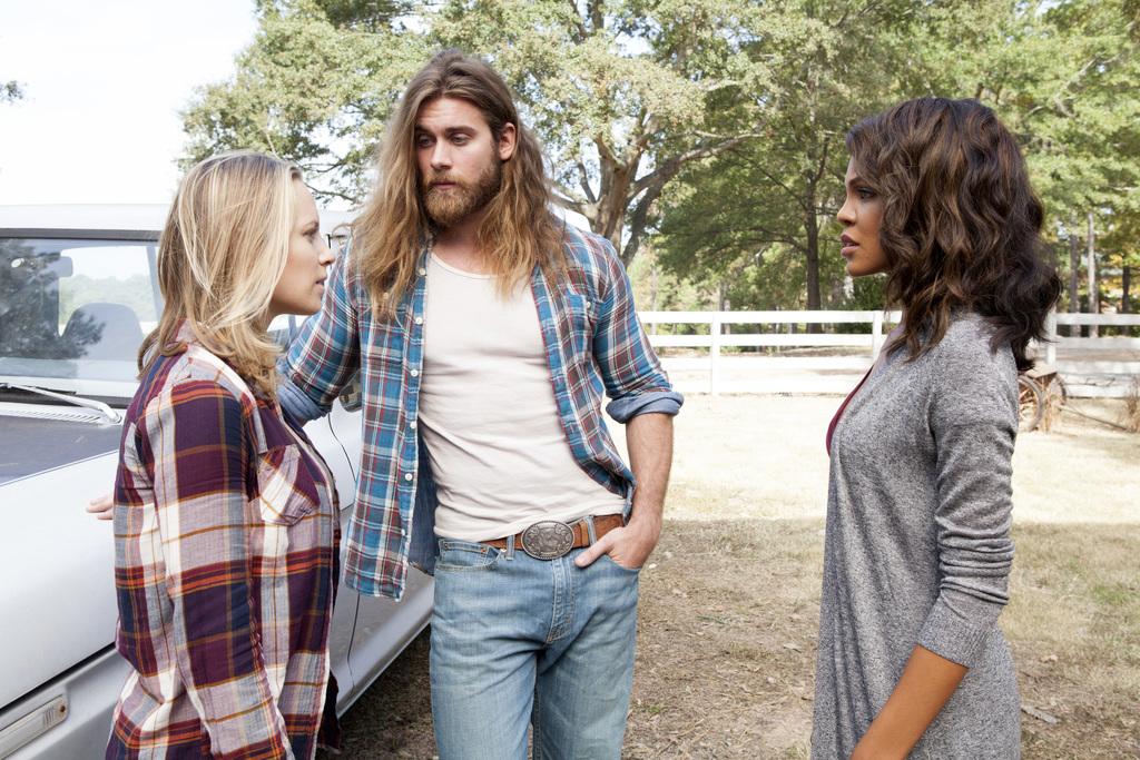 This image released by TLC shows form left to right, Danielle Savre as Anna, Brock O'Hurn as Brody and Crystle Stewart as Frankie in a ...