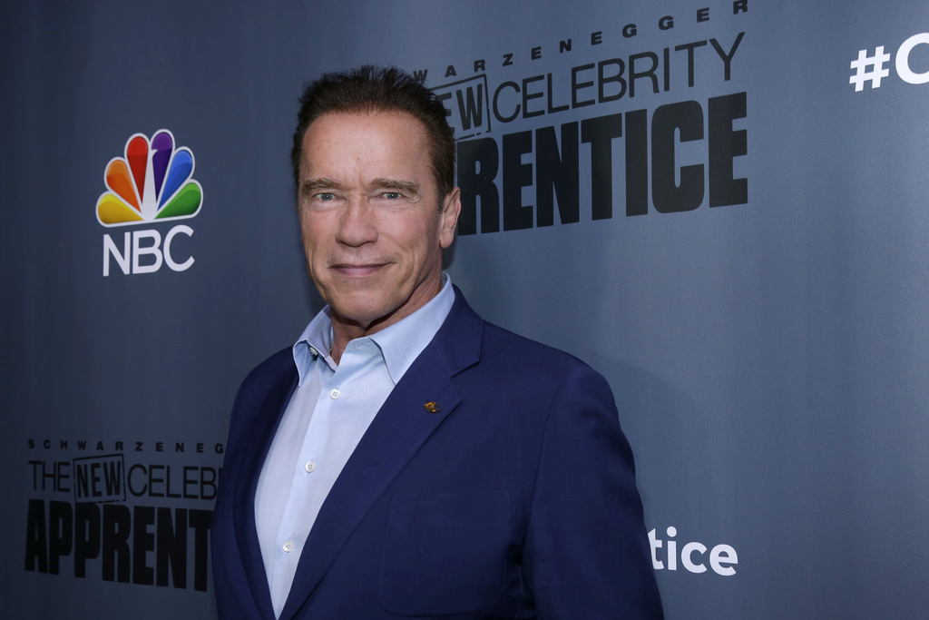 """This Dec. 9, 2016 image released by NBC shows Arnold Schwarzenegger, the new boss of """"The New Celebrity Apprentice,"""" at a press junket ..."""
