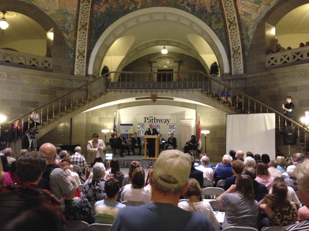 FILE - In this April 19, 2016, file photo, supporters of a proposed constitutional amendment to protect businesses that deny services f...