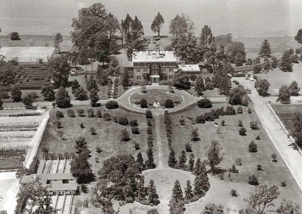 This 1940 aerial photo shows the Raskob Estate at Pioneer Point seen on the Eastern Shore in Maryland. Reports indicate the property wa...