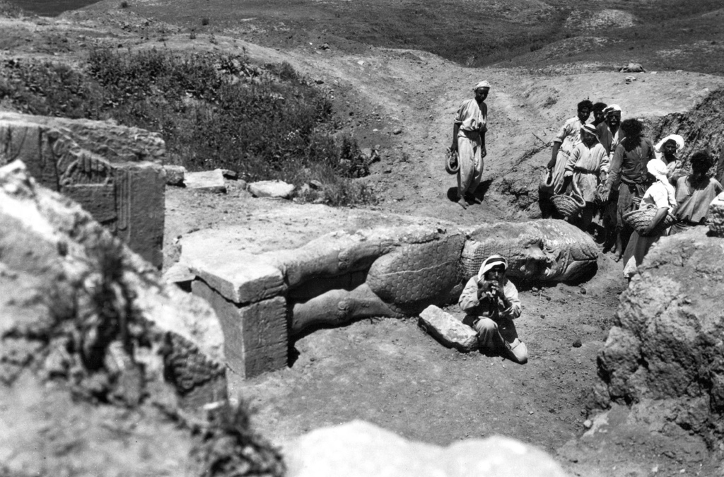 This 1949 photo taken by British mystery author Agatha Christie shows a statue of a lamassu, a winged bull from Assyrian mythology who ...