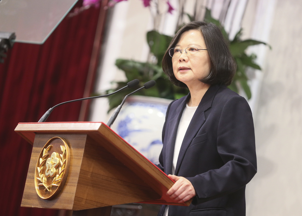 In this photo released by the Taiwan Presidential Office, President Tsai Ing-wen delivers a year-end speech during an international pre...