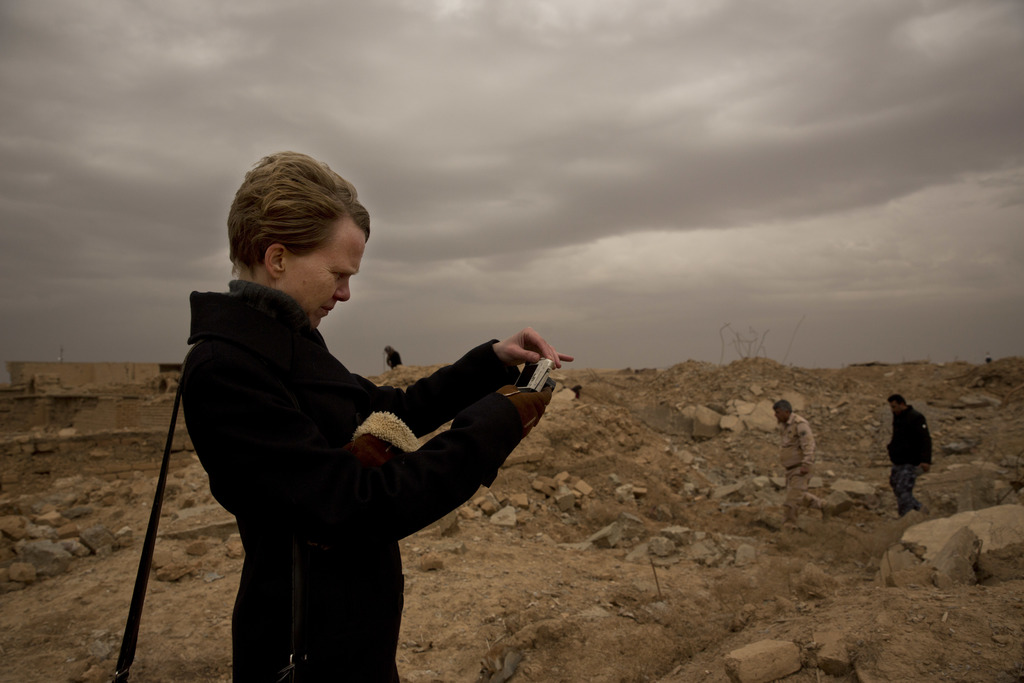 UNESCO's Iraq representative Louise Haxthausen documents the damage wreaked by the Islamic State group at the ancient site of Nimrud, I...