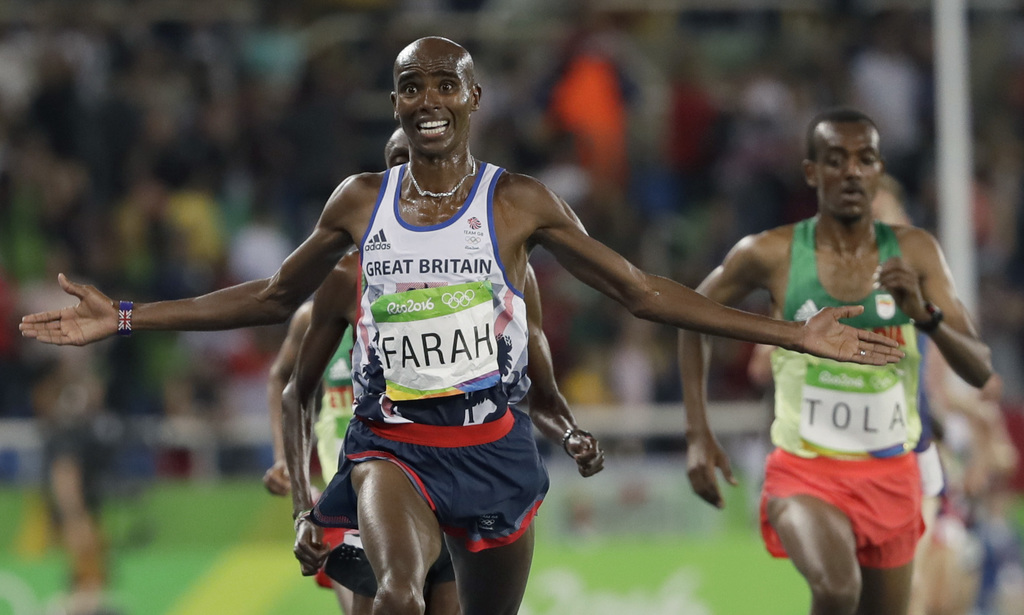 FILE - In this file photo dated Saturday, Aug. 13, 2016, Britain's Mo Farah wins the gold in the men's 10,000-meter final during the 20...