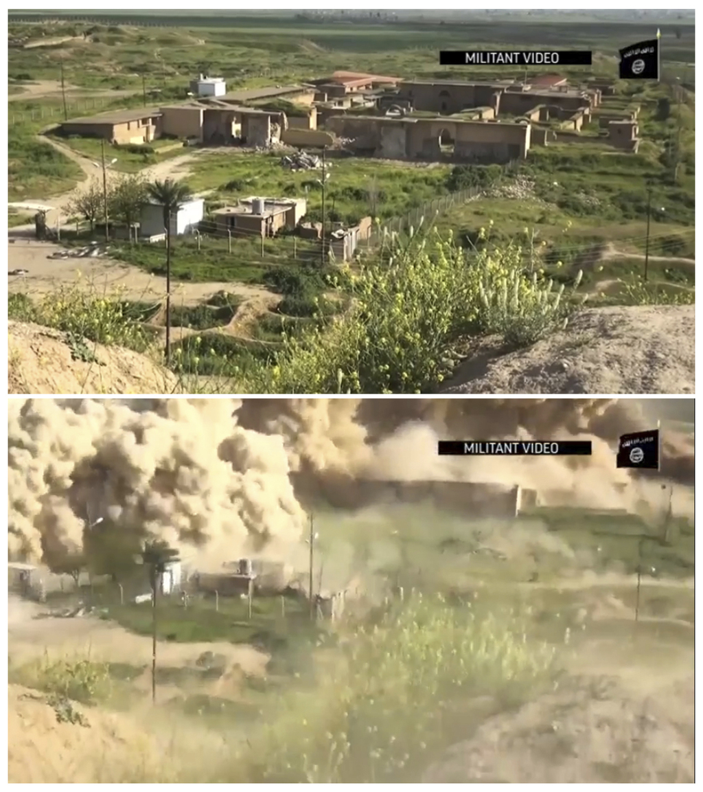 FILE - This image made from video posted online by Islamic State militants in April, 2015 shows the ancient site of Nimrud near Mosul, ...