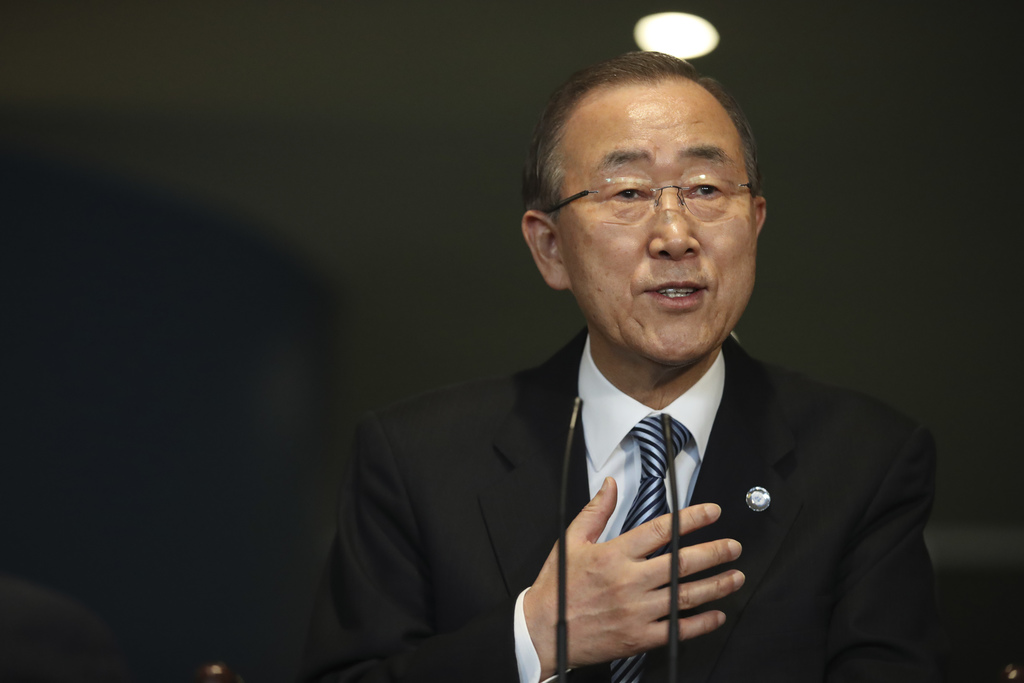 United Nations Secretary-General Ban Ki-moon addresses his staff on his last day at the U.N. headquarters, Friday, Dec. 30, 2016. (AP P...