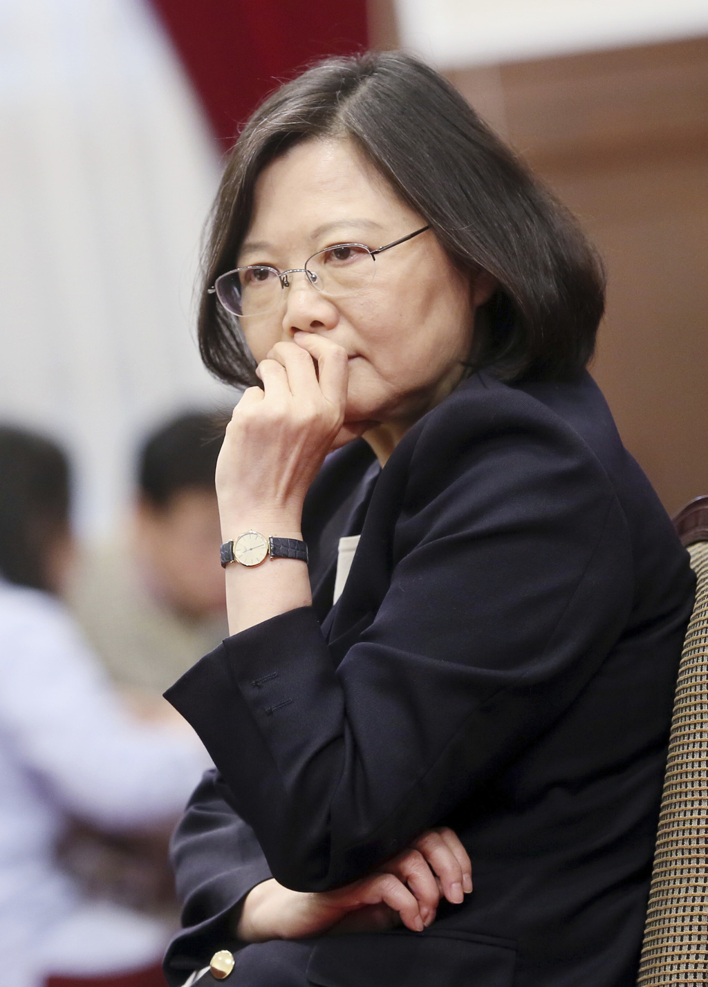In this photo released by the Taiwan Presidential Office, President Tsai Ing-wen pauses during an international press conference at the...