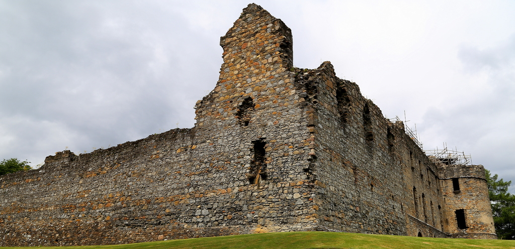 This photo taken June 28, 2016, shows the ruins of Balvenie Castle in Scotland's Speyside region. The original stone castle was built i...