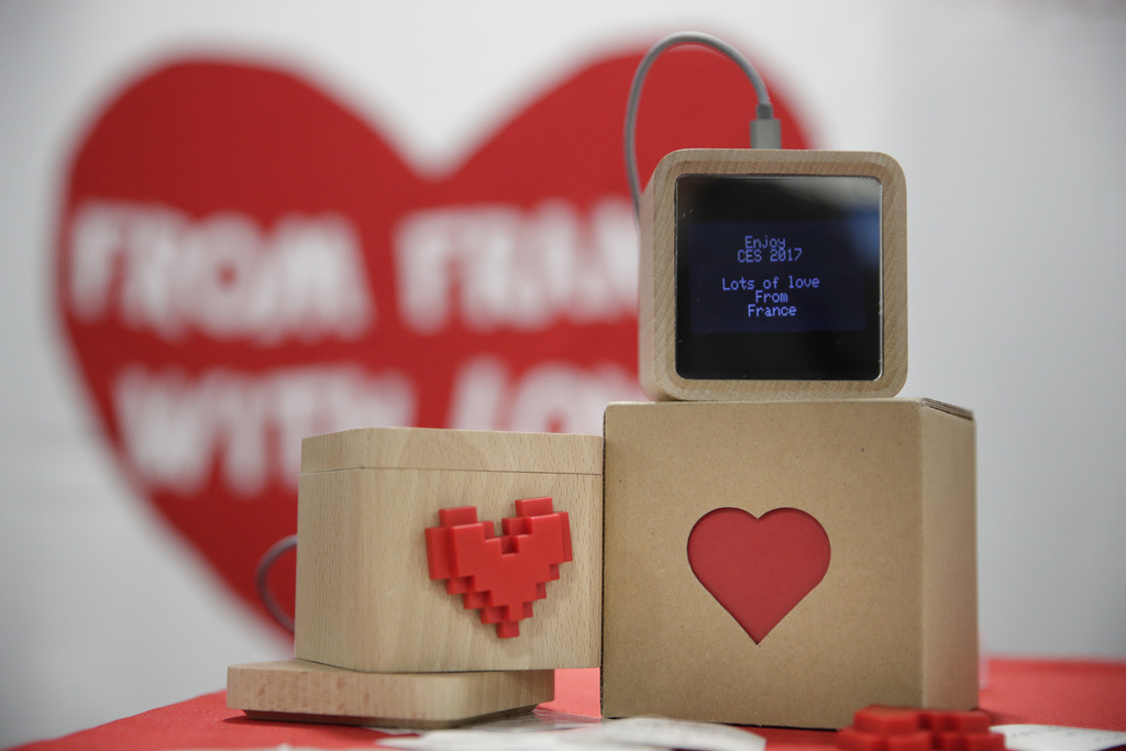 LoveBox devices are on display at CES International Friday, Jan. 6, 2017, in Las Vegas. The device is designed to receive private messa...