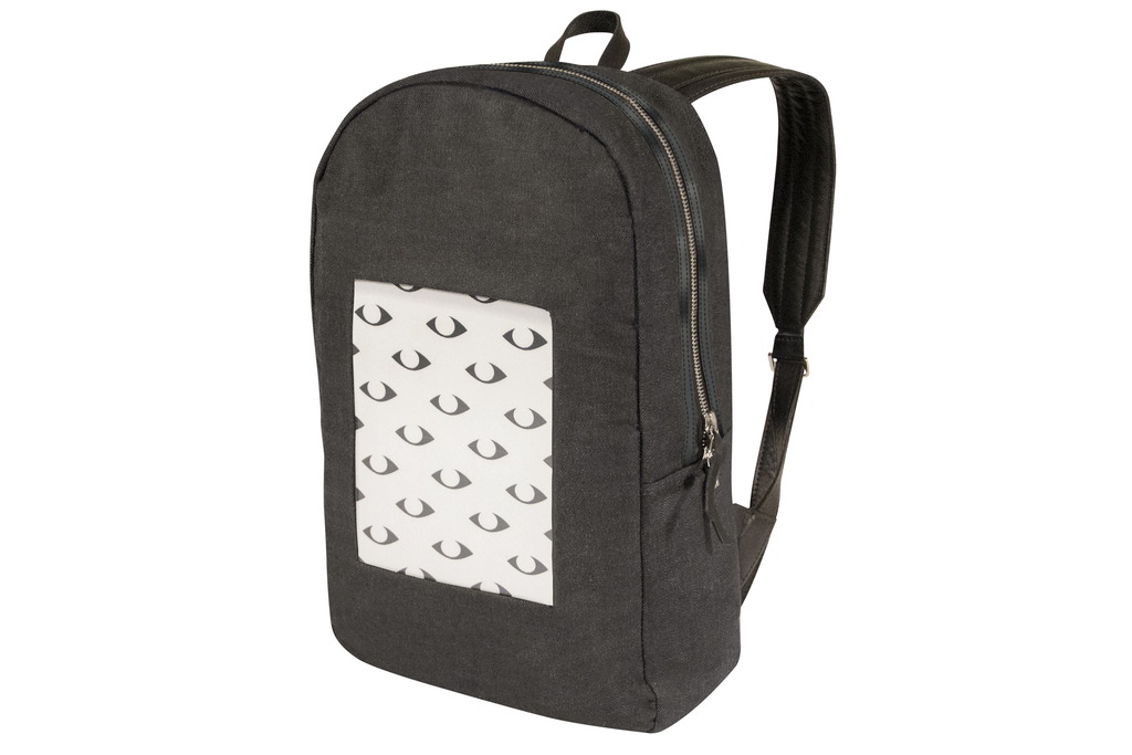 This photo provided by POP-I shows a backpack from POP-I.  The backpack has a built-in digital screen that displays photos you just sna...