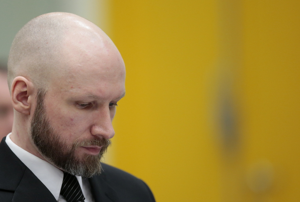Anders Behring Breivik arrives for his appeal case in Borgarting Court of Appeal at Telemark prison in Skien, Norway, Tuesday, Jan. 10,...