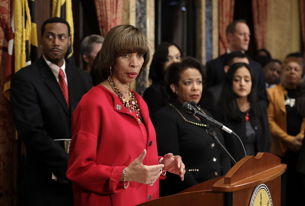 Baltimore Mayor Catherine Pugh speaks during a joint news conference in Baltimore, Thursday, Jan. 12, 2017, to announce the Baltimore P...