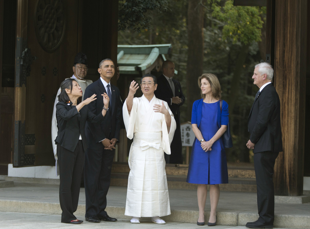 FILE - In this April 24, 2014, file photo, attended by U.S. Ambassador to Japan Caroline Kennedy and her husband Edwin Schlossberg, rig...