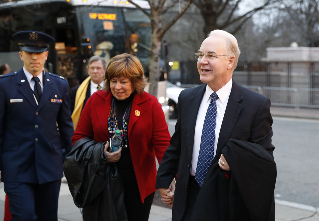 Health and Human Services Secretary-designate, Rep. Tom Price, R-Ga., and his Elizabeth Clark arrive for a church service at St. John's...