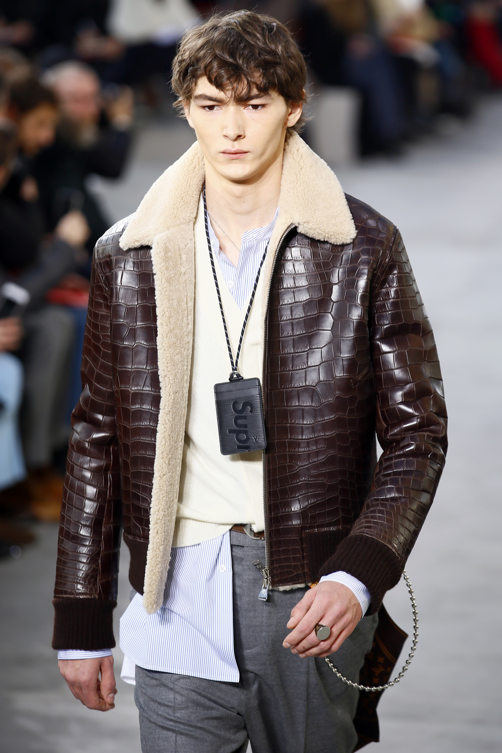 c5ae2b7d13d3 A model wears a creation for Louis Vuitton Men s Fall Winter 2017-2018  fashion collection