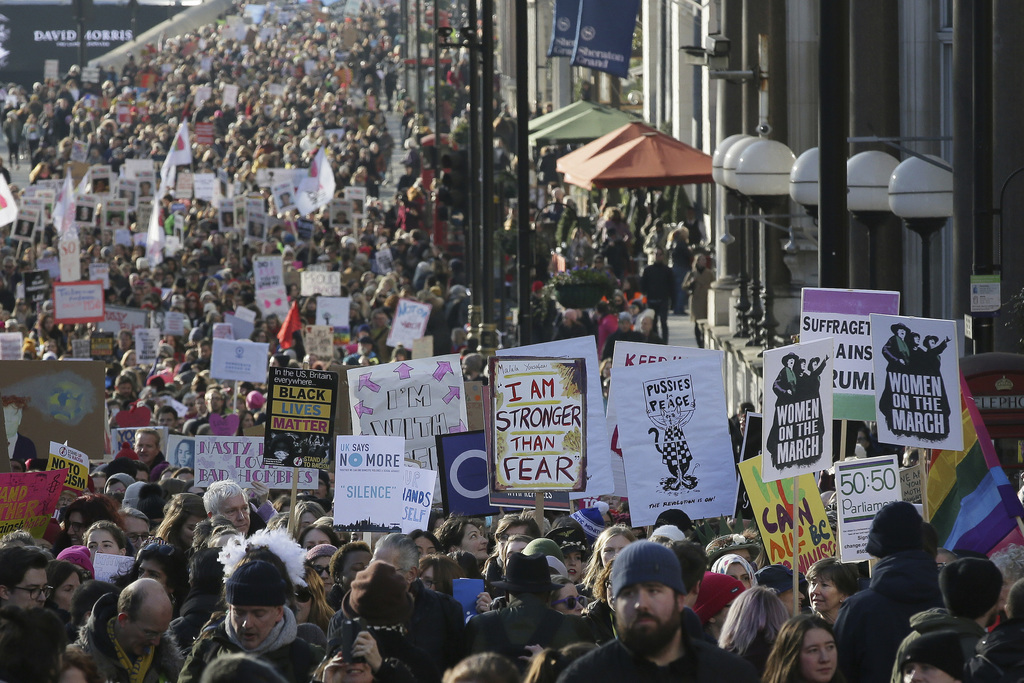 Demonstrators take part in the Women's March on London, following the Inauguration of U.S. President Donald Trump, in London, Saturday ...