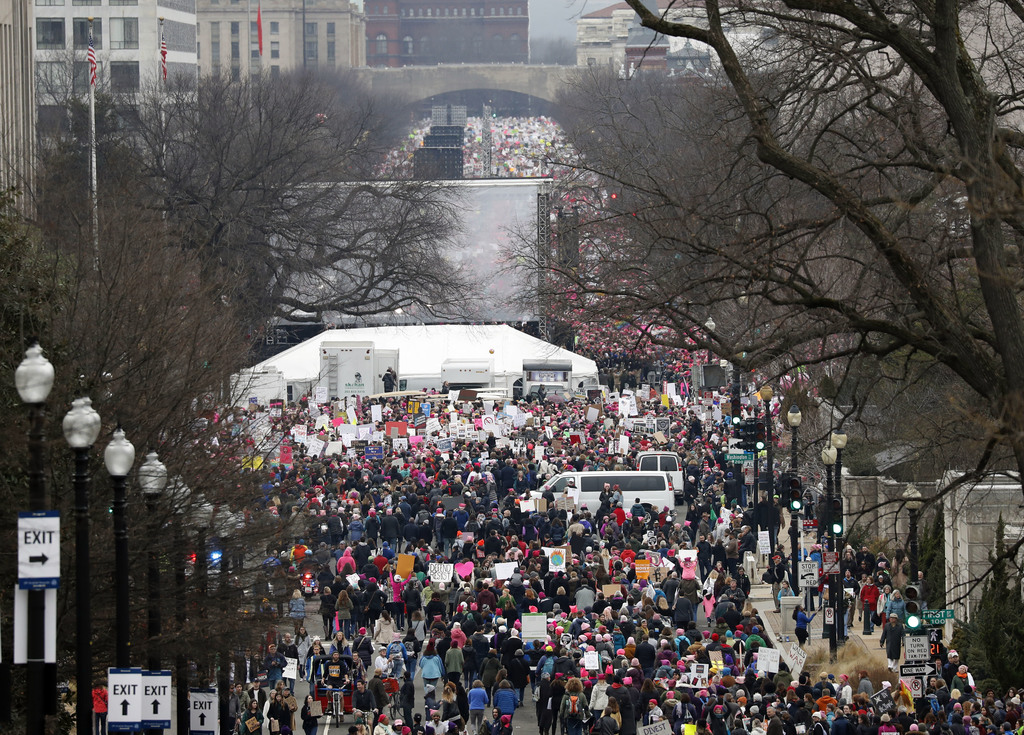 A crowd fills Independence Avenue during the Women's March on Washington, Saturday, Jan. 21, 2017 in Washington. Thousands of women mas...