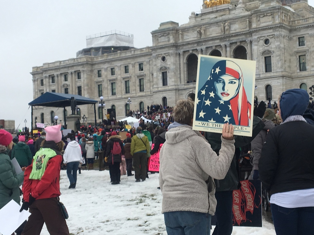 A protester holds sign at Minnesota Women's March in front of state Capitol in St. Paul, Minn., on Saturday, Jan. 21, 2017.  The march ...