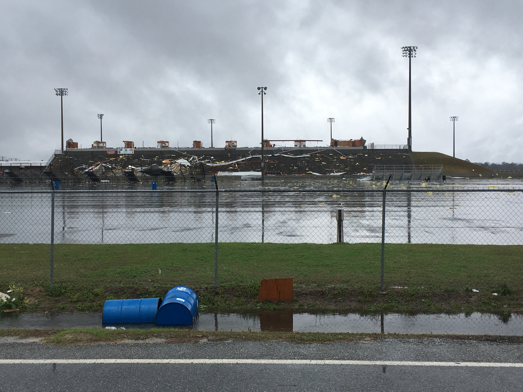 Storm damage is seen at South Georgia Motorsports Park in Cecil, Ga., Sunday, Jan. 22, 2017.  Georgia Gov. Nathan Deal has declared a s...