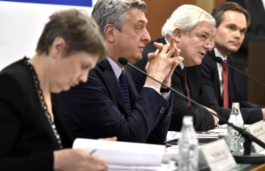 From left: UNDP Administrator Helen Clark, UN High Commissioner for Refugees Filippo Grandi, The Under-Secretary-General and Emergency ...