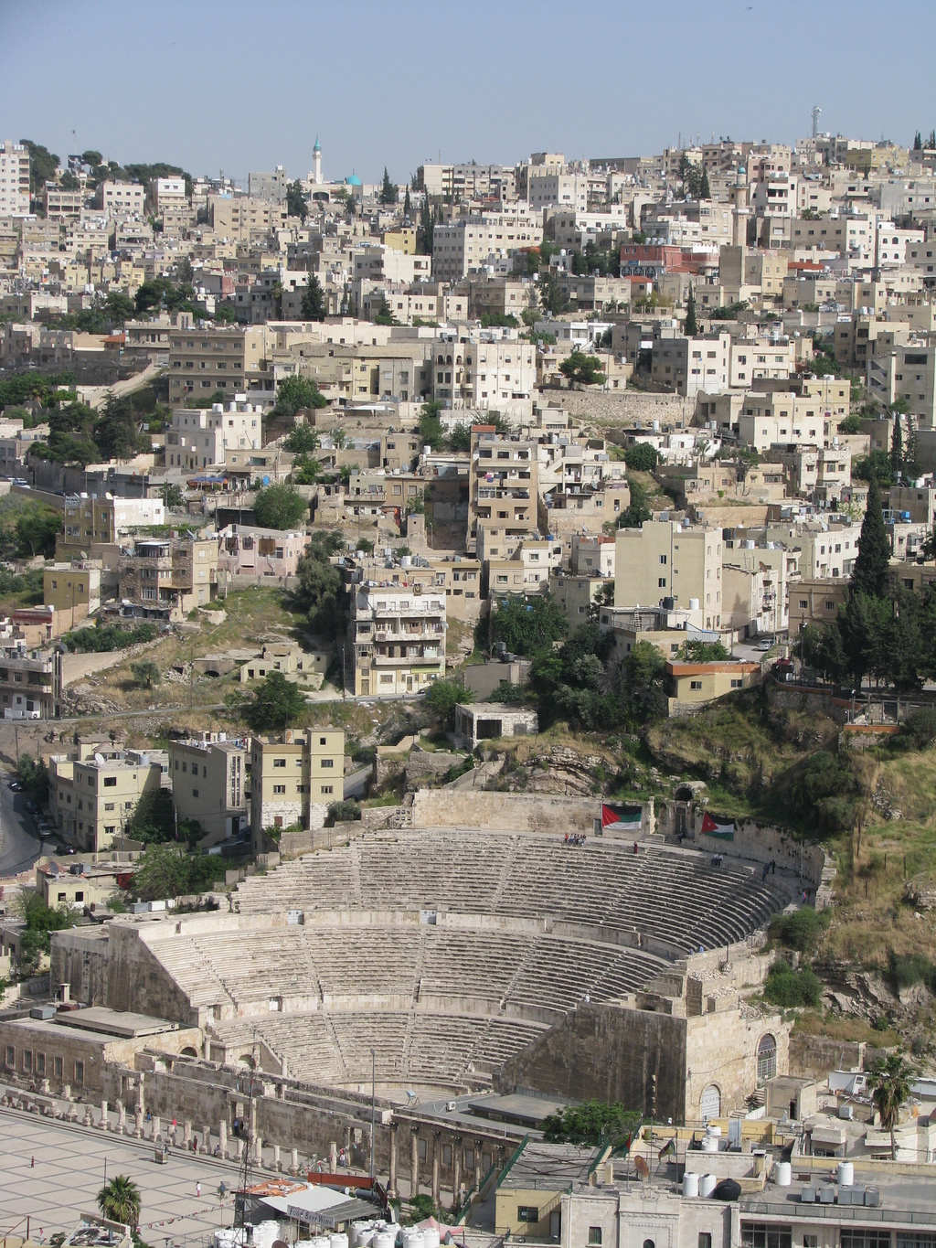 This April 21, 2016 photo shows the ancient Roman theater and a sand-colored panorama of Jordan's capital, Amman, as seen from the monu...
