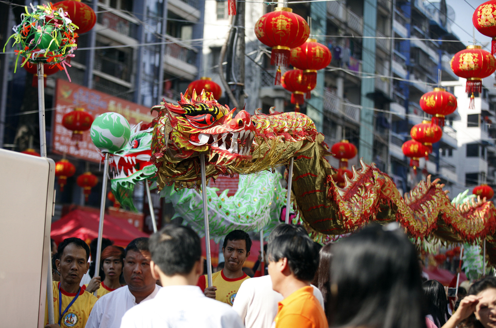 Local Chinese artists perform a dragon dance during cerebrations to mark Lunar New Year at Chinatown Saturday, Jan.28, 2017, in Yangon,...