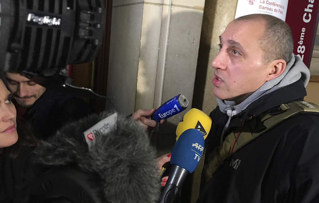 Chief suspect is Vjeran Tomic arrives at his trial in Paris, Monday Jan. 30, 2017. Three people, including Tomic, are on trial, accused...