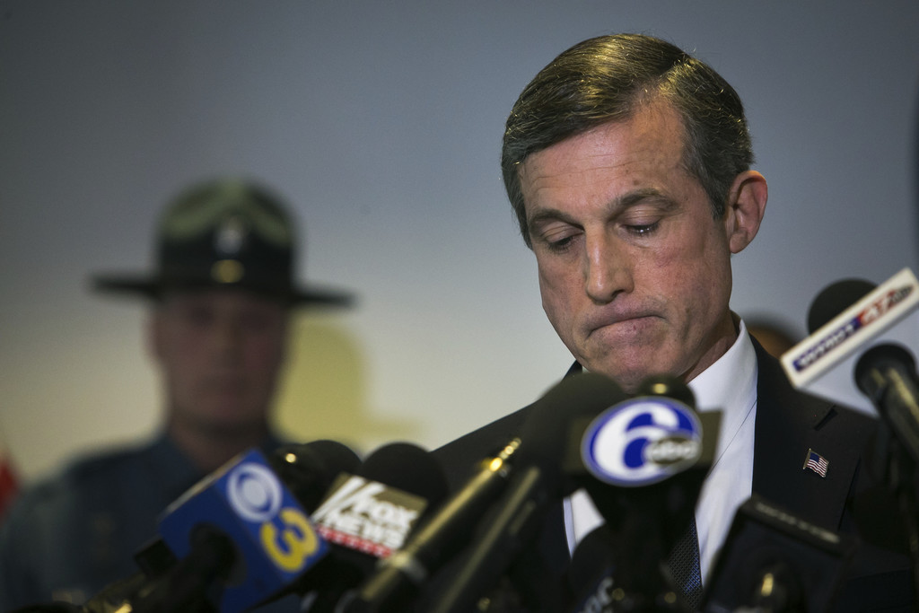 Gov. John Carney speaks at a news conference, on the loss of one of the prison guard at Vaughn Correctional Center during the hostage s...