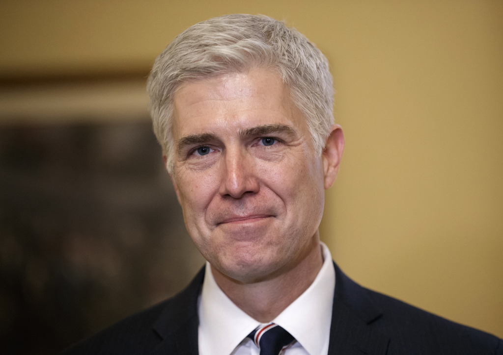 FILE - In this Feb. 1, 2017 file photo, Supreme Court Justice nominee, Neil Gorsuch is seen on Capitol Hill in Washington. Gorsuch has ...