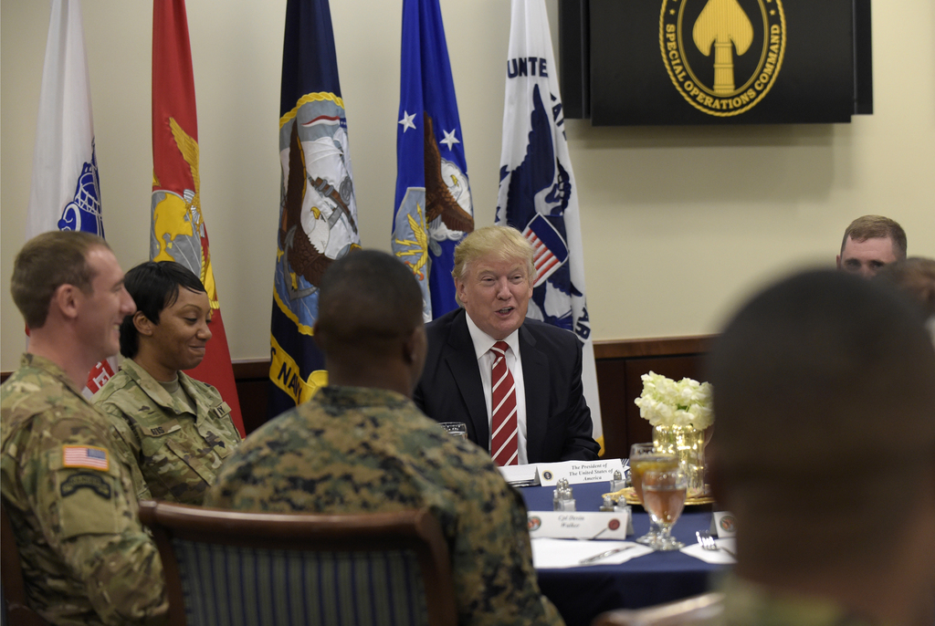 President Donald Trump has lunch with troops while visiting U.S. Central Command and U.S. Special Operations Command at MacDill Air For...