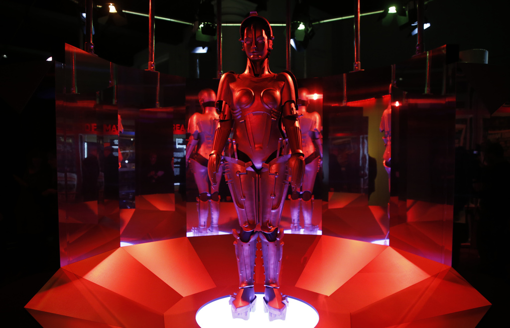 A replica of 'Maria' robot designed and featured in Fritz Lang's Metropolis on display, during a press preview for the Robots exhibitio...