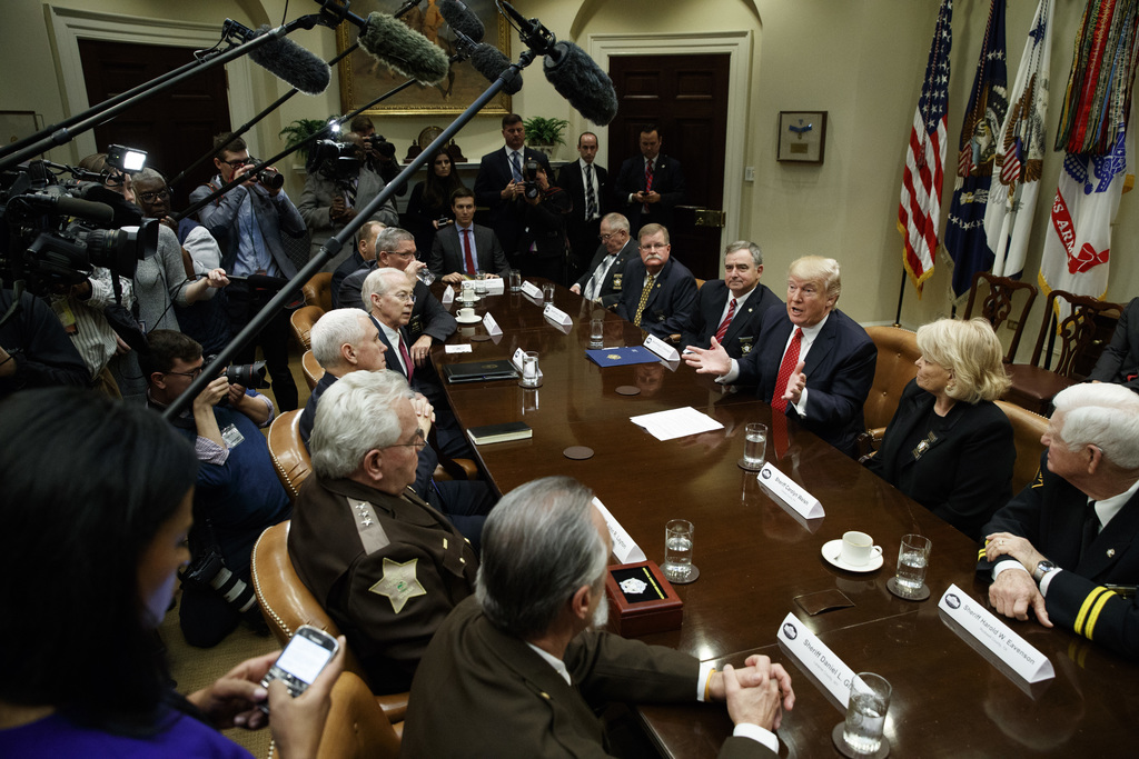 President Donald Trump speaks during a meeting with county sheriffs in the Roosevelt Room of the White House in Washington, Tuesday, Fe...