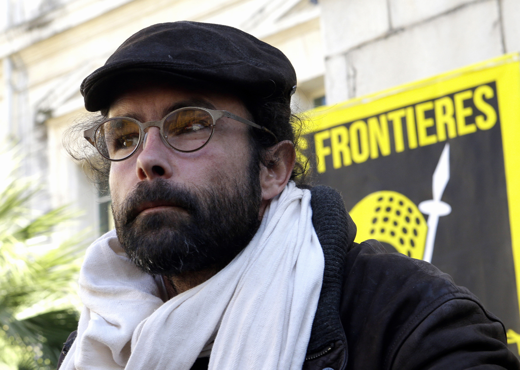 FILE - In this Wednesday, Jan. 4, 2017 file picture, Cedric Herrou, a French activist farmer who faces up to five years in prison as he...